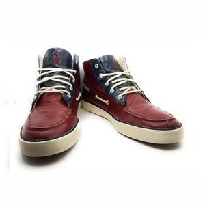 Polo Ralph Lauren Boat Shoe Chukka Boot Red & Blue